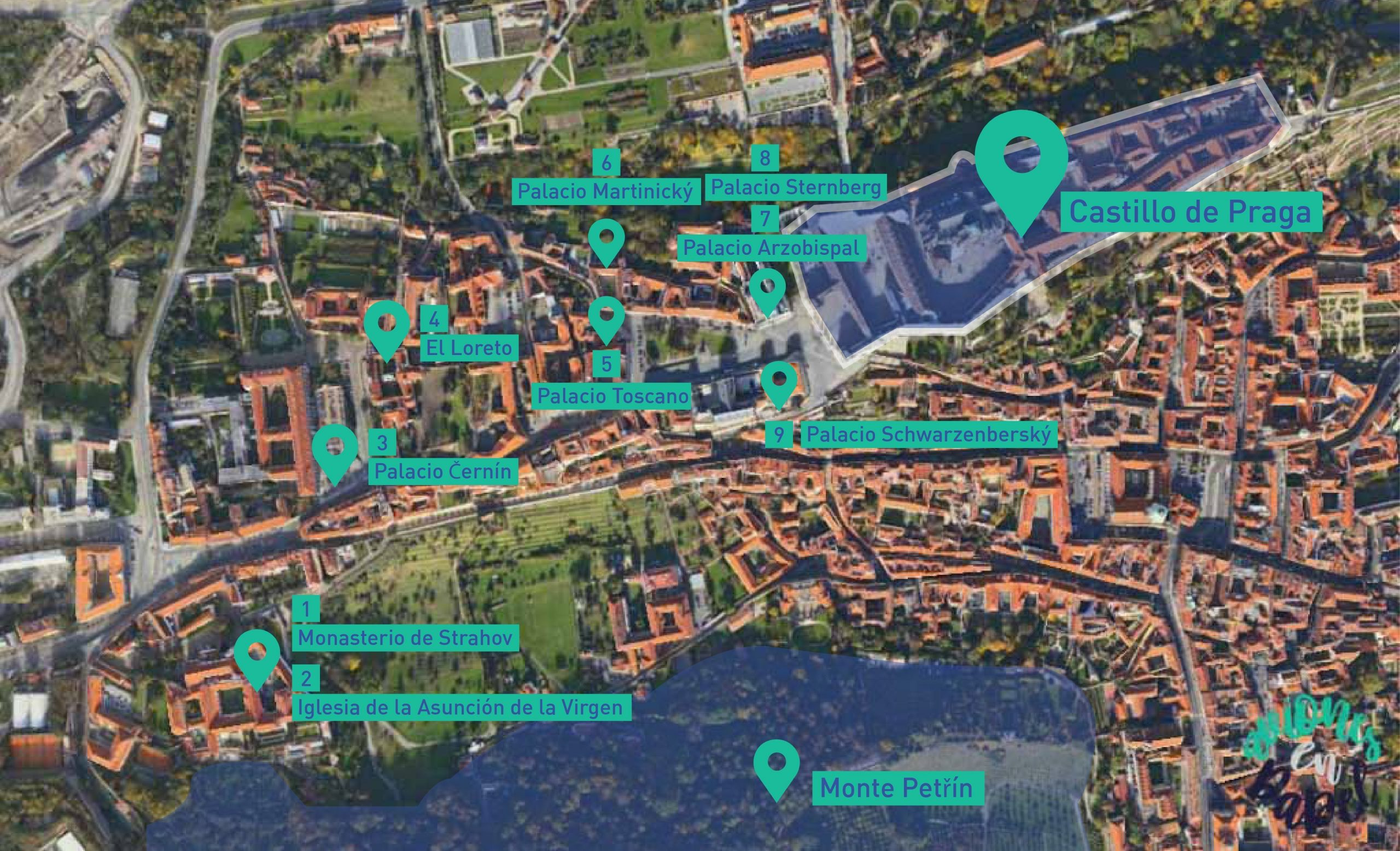 Mapa de Hradčany, el Barrio del Castillo. Praga