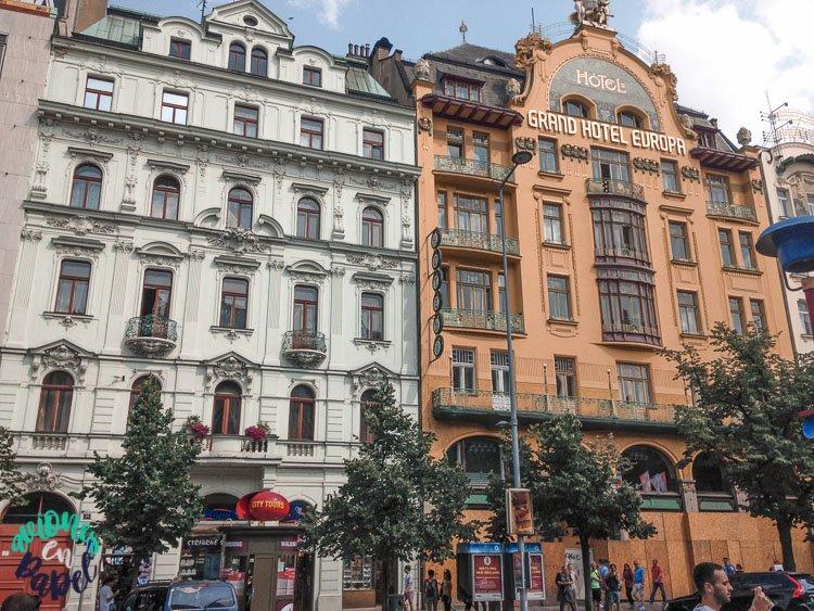 Grand Hotel Evropa en la Plaza de Wenceslao, Praga