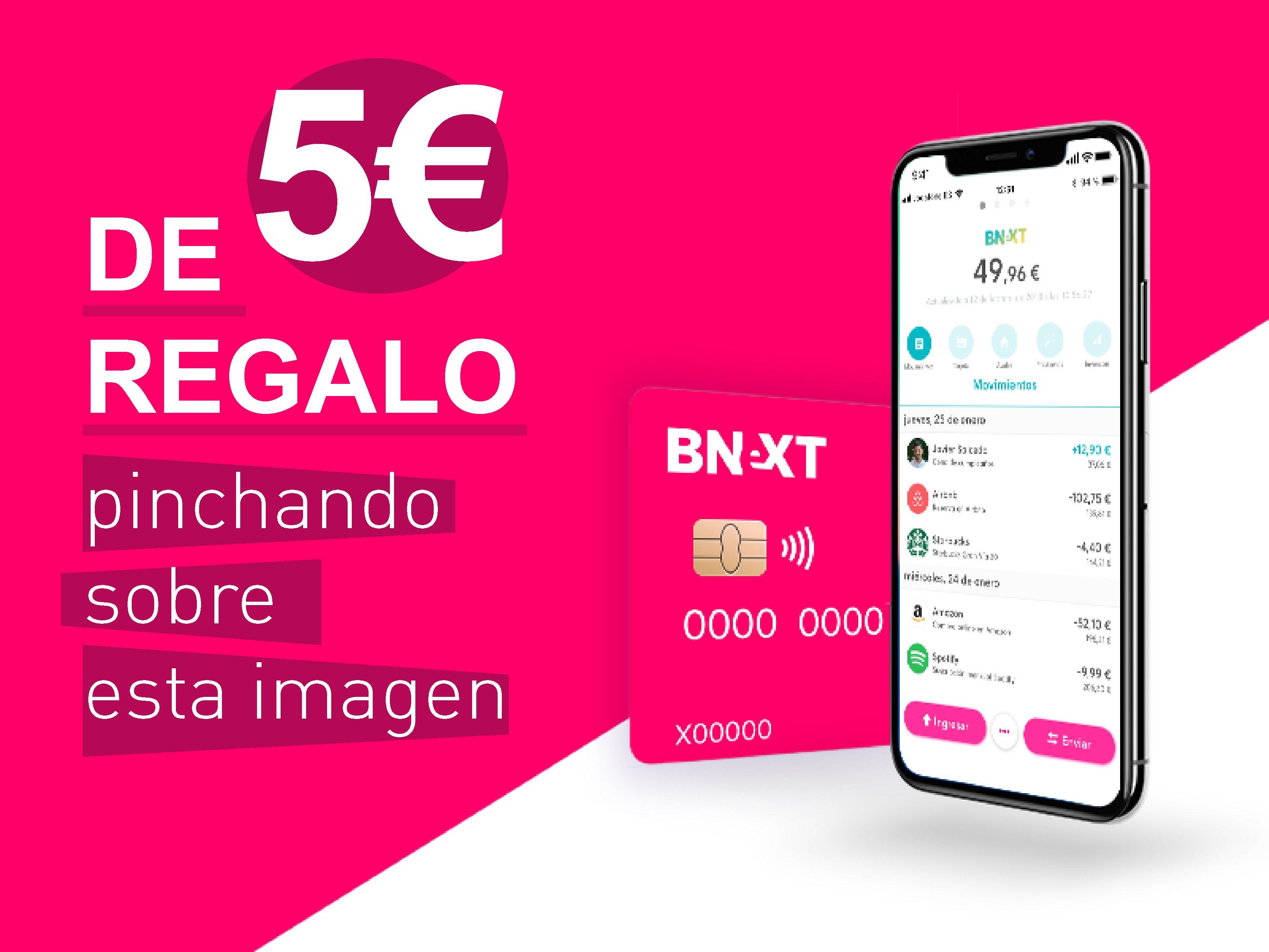 Tarjeta Bnext, 5 euros de regalo al registrarse
