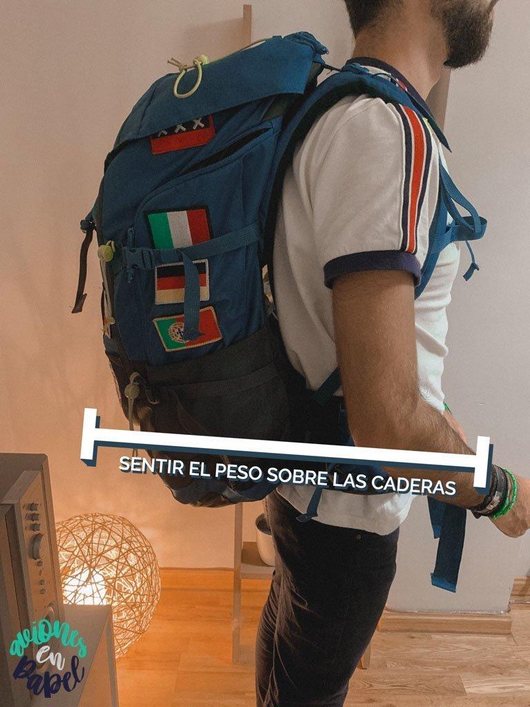 80% del peso de la mochila recae sobre la cadera