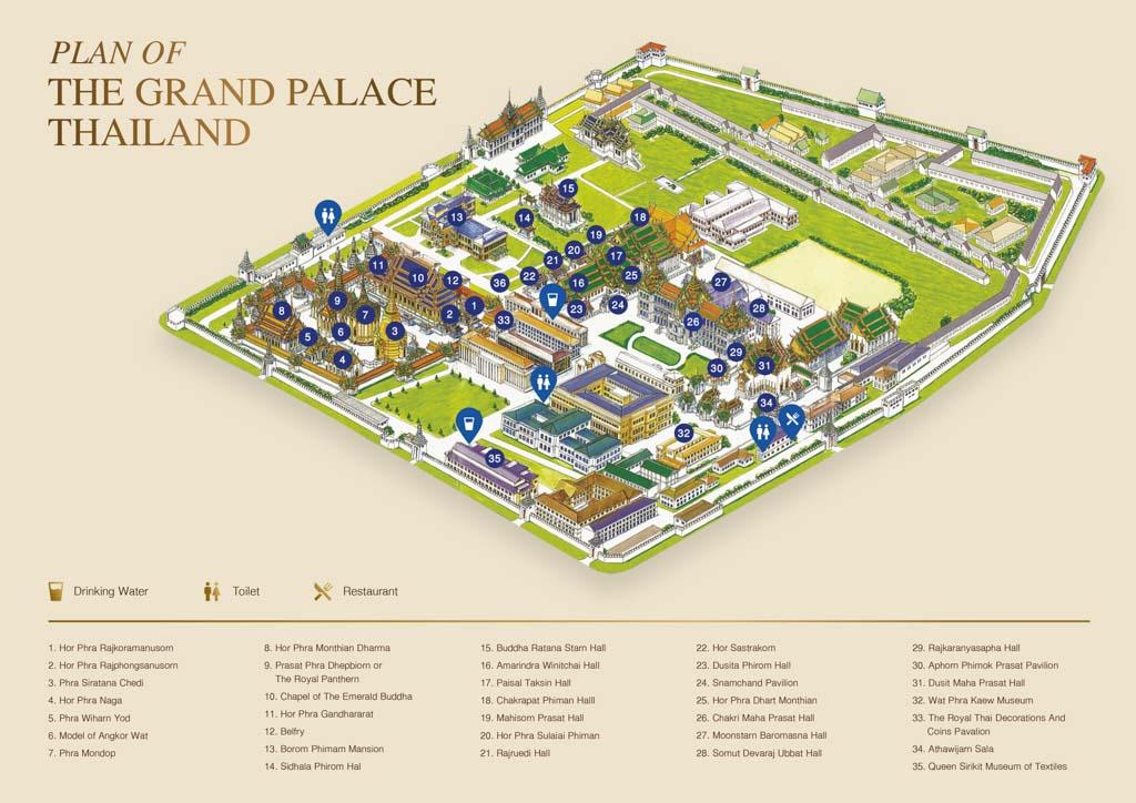 Plano mapa del Grand Palace. Qué ver en Bangkok en 3 días