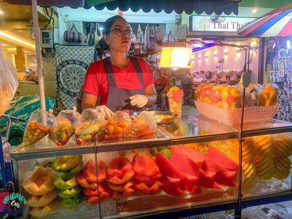 Puesto en Rambuttri Road. Qué ver en Bangkok en 3 días