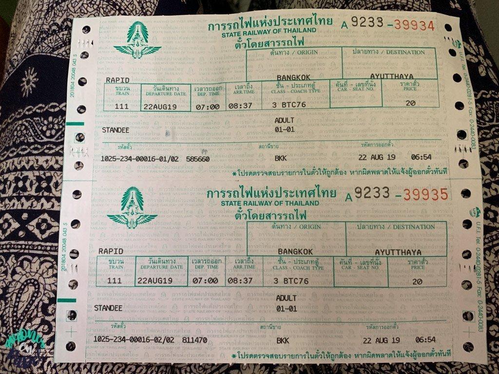 Billete de tren de Bangkok a Ayutthaya