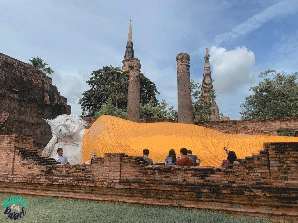 Buda reclinado del Wat Yai Chai Mongkhol. Qué ver y hacer en Ayutthaya en 1 día