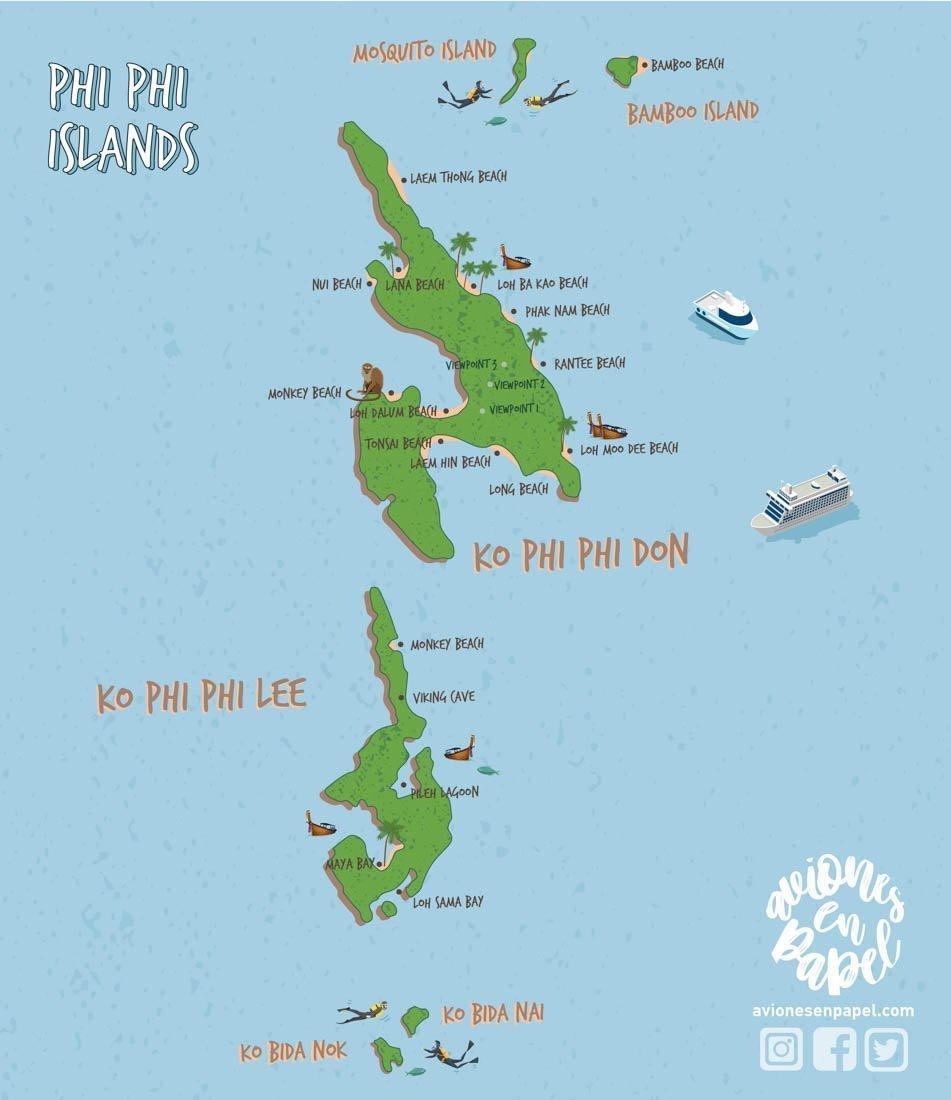 Qué ver y hacer en las Islas Phi Phi en 3 días: Mapa