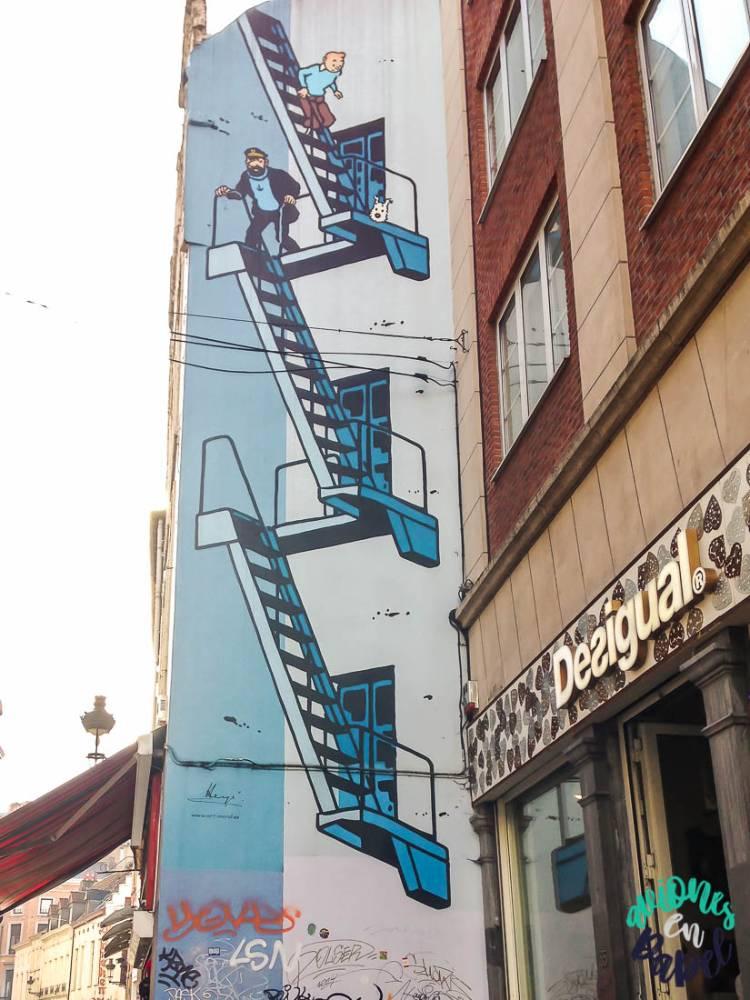 Mural ruta del cómico TinTín, Bruselas