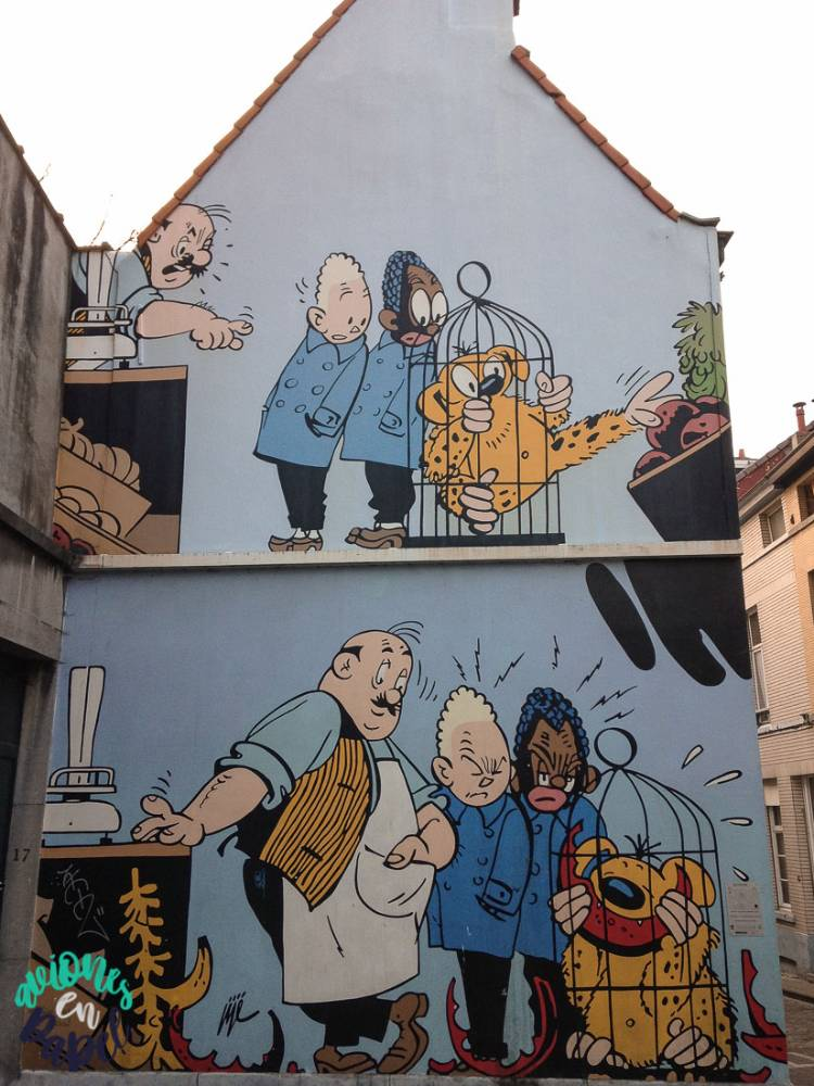 Mural Ruta del Cómic Blondin et Cigare, Bruselas