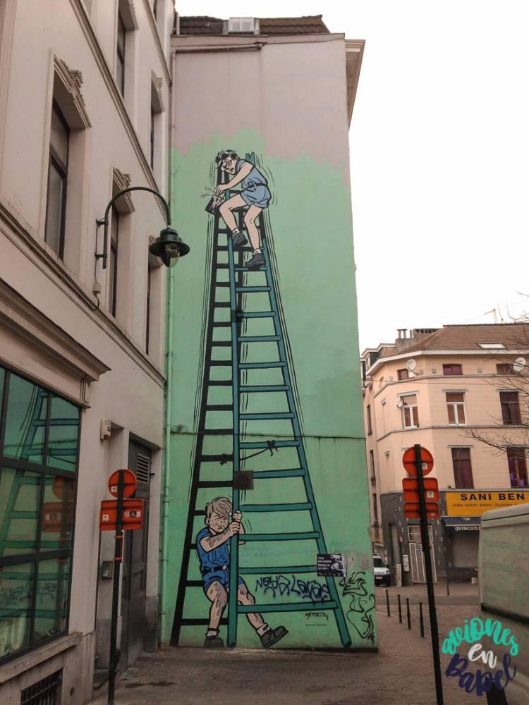 Mural Ruta del Cómic La Patrouille des Castors, Bruselas
