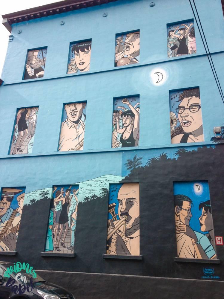 Mural Ruta del Cómic Caroline Baldwin, Bruselas