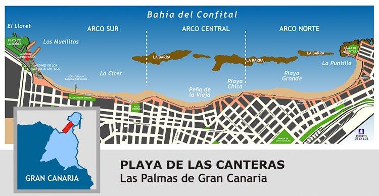 Mapa de la Playa de las Canteras