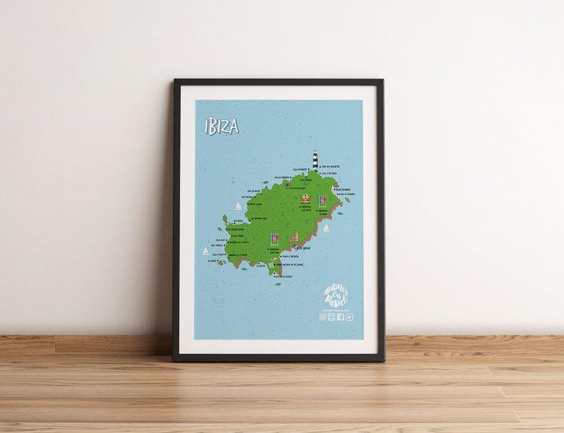 Mapa Póster de Ibiza para descargar