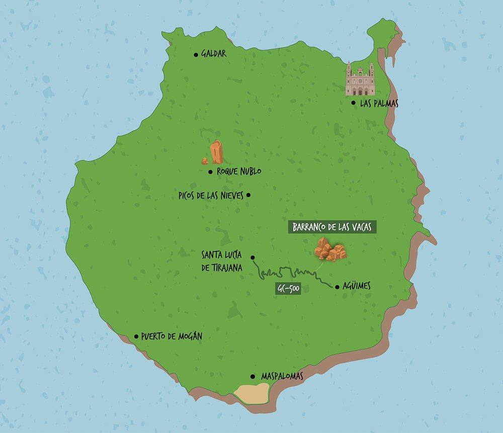 Barranco de las Vacas (Gran Canaria): mapa