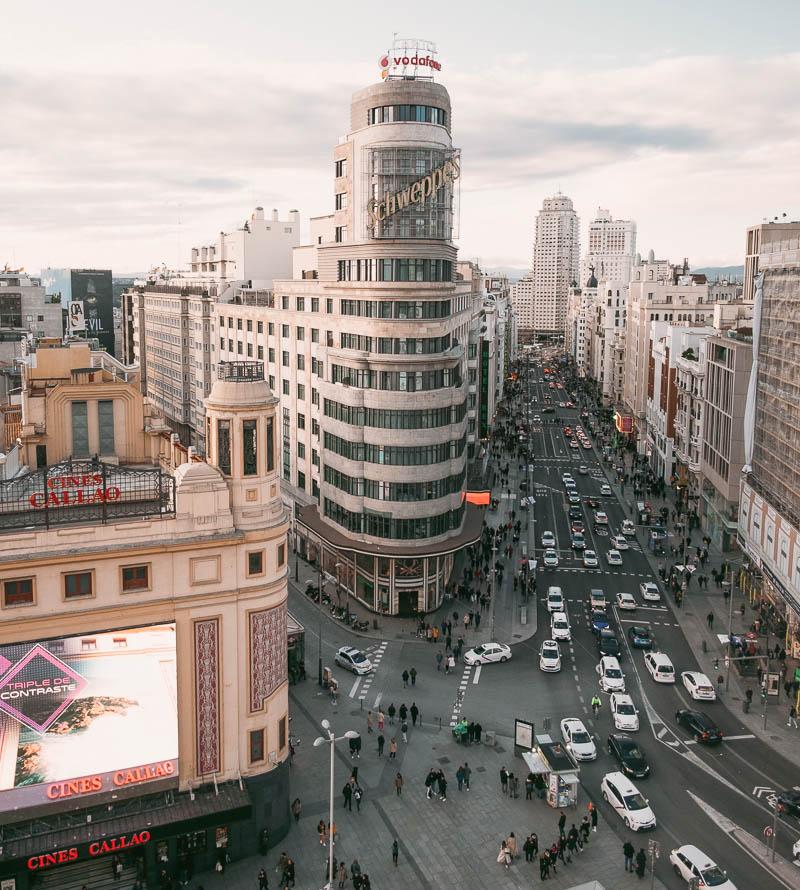 Vistas de Callao y Gran Vía de Madrid